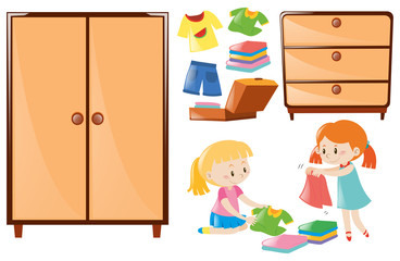 Set of girls folding clothes and closets