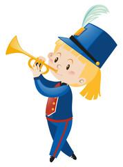 Trumpet player wearing band uniform