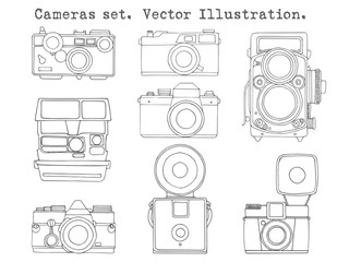 Retro camera set. Hand drawn vintage photocameras set in simple style. Vector illustration.