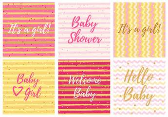 Baby shower cards. Baby Girl design.