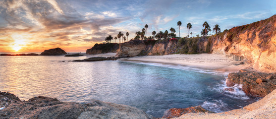 Sunset view of Treasure Island Beach at the Montage in Laguna Beach, California, United States Wall mural