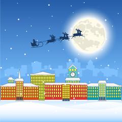 City landscape. Christmas illustration