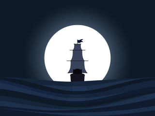 The ship on a background of the moon. Sailing ship at night. Columbus Day. Vector illustration.