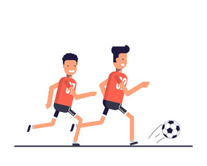 Two football players running after the ball. Team play. Training or playing sports. The competition on the game of football. Happy athletes. Vector illustration in a flat style.