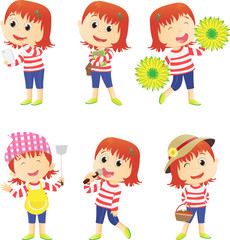 collection of a young girl many daily activities