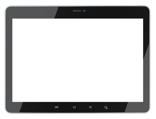 Black tablet with blank screen front view.