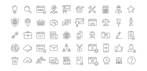 Set Vector Flat Line Icons SEO