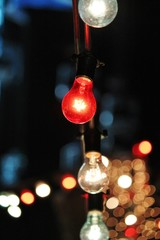 light bulbs Decorative outdoor string bulbs hanging at night time lit