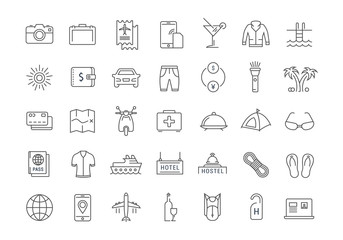 Set Vector Flat Line Icons Travel