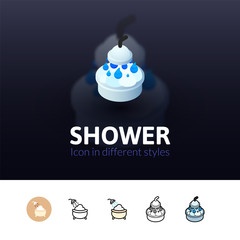Shower icon in different style