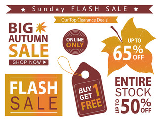 Flash sale banner set. Shop now, buy one get one free, vector.