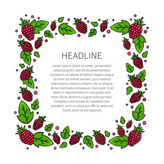 Raspberry line art vector illustration. Raspberry frame with sample text creative concept. Graphic design for poster, banner, placard. Template layout with text and berries.