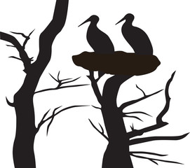Vector illustration tree silhouette with storks on a white background