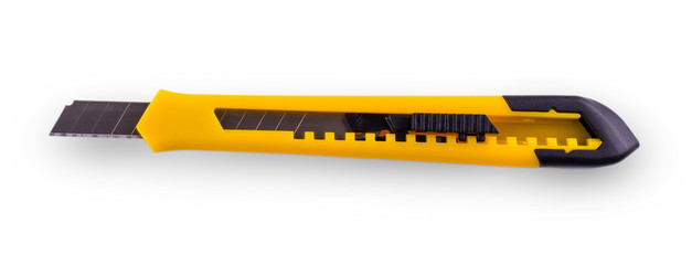 Yellow paper cutter with opened blade