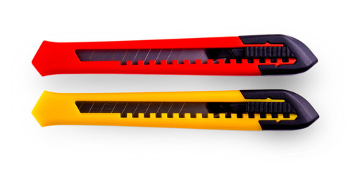 Yellow and red  paper cutters with closed blade