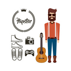 male avatar with hipster style vector illustration design