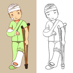 vector illustration of a man was injured with lineart for coloring book