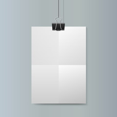 Empty vector vertical white paper poster mockup with  clip.