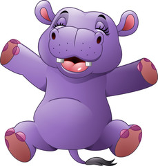 Cartoon funny hippo