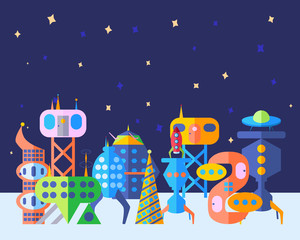 Bright extraterrestrial future city set in cartoon flat style.
