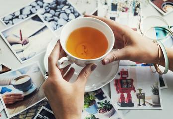 Woman Drinking Tea Photos Memory Concept