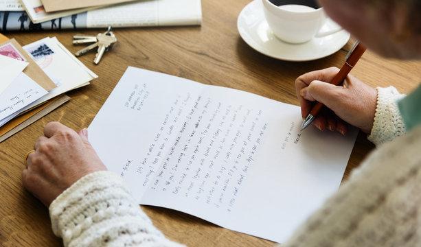 Senir Adult Reading Letter Postcard Concept