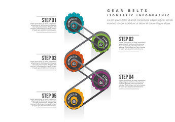 Isometric Gear Belt Infographic