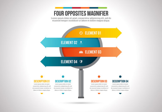 Four Opposites Magnifying Glass Infographic