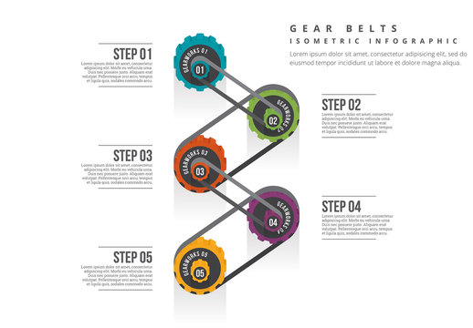 Isometric Gear Belt Infographic