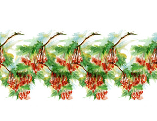 Watercolor vintage border with a pattern of red berries on a branch. Kalina, rowan. For decoration and design