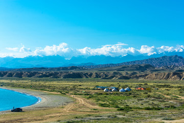 On the shore of Lake Issyk-Kul, Kyrgyzstan.