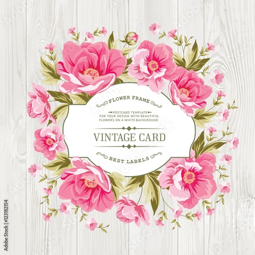 Vintage card design with flowers and petals over wooden texture vintage card design with flowers and petals over wooden texture border of flowers in vintage stopboris Images