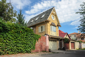 Small brick two-storied residential house