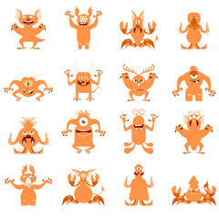 Set of flat moster icons7