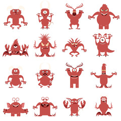 Set of flat moster icons8