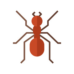 Forest red ant vector flat design icon. Garden insect vector illustration.