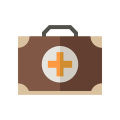 Medicine chest vector icon. Doctor emergency case illustration. Flat medicine chest with cross isolated on white.