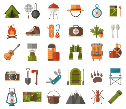 Camping icon set. Camp gear and adventure activity elements. Hiking icons collection. Binoculars, bowl, barbecue, boat, lantern, shoes, hat, tourist tent and other camping essentials and items.
