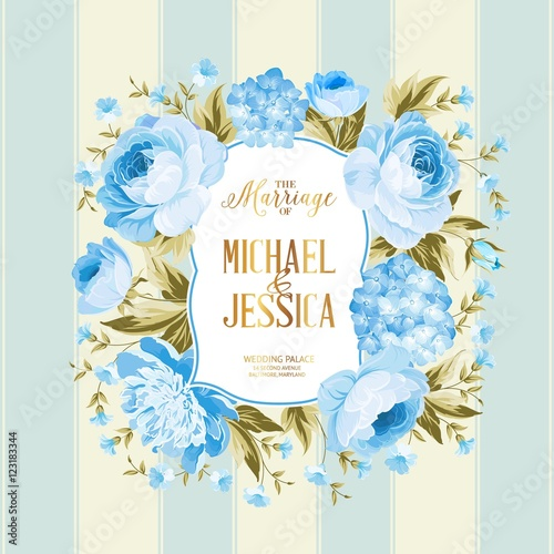 "5 Blue Floral Wedding Invitation Card Vector Material: ""The Marriage Card. Wedding Invitation Card Template"