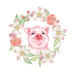 Happy pig. Watercolor illustration with floral wreath