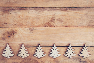 Christmas decoration on table wood with copy space