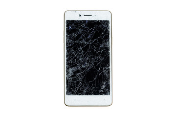 Broken mobile screen isolated on white background.