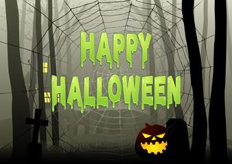 Happy Halloween text on spider web in dark gloomy woods
