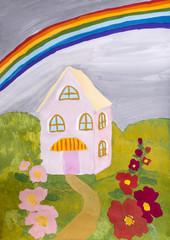 """Детский рисунок гуашью """"Домик с радугой"""""""