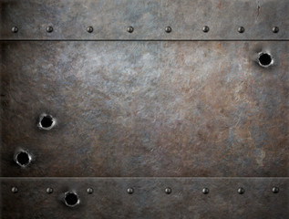 Wall Mural - old metal background with bullet holes