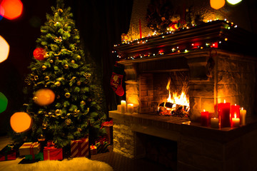 Atmospheric christmas card with tree, presents and fireplace