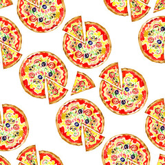 Seamless pattern with a pizza salami. illustration