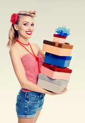 woman in pin-up style with gifts