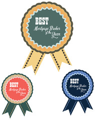 Vector promo label of best mortgage broker agent service award of the year. Label to promote award or achievement with a shirt collar design.