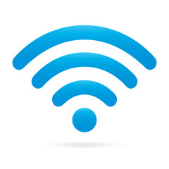 sky light blue wifi icon wireless symbol on isolated background